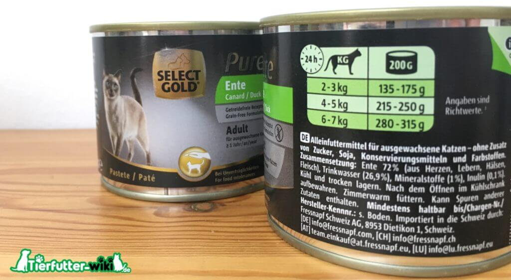 Select Gold Pure Ente Nassfutter für Katzen